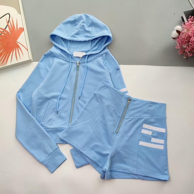 2021 Yaz Kadın S Kapüşonlu Eşofmanlar Fermuar Iki Parça Setleri Pantolon Tasarımcı Giysi ile Hırka Top Setleri Neden Giyim Sokak Kıyafet Takım Elbise 3 Farklı Modeller-2