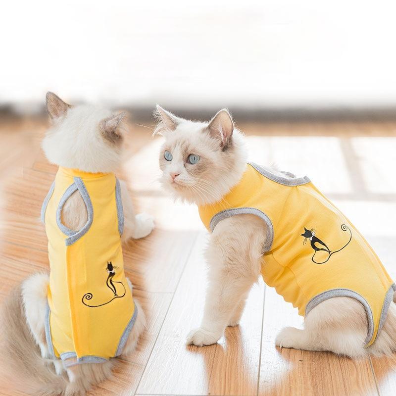 Cat Costumes Recovery Suit Cotton Kitten Clothes Sterilization T Shirt Postpartum Gown Ablactation Vest Anti-lick Sanitary Pants