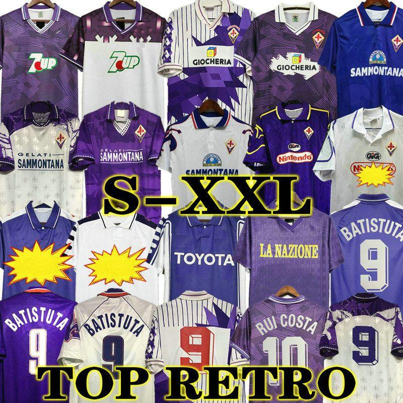 Batistuta Retro 98 99 Fiorentina Fussball Trikots Edmundo Rui Costa Home Football Hemd Classic Camisas de Futebol 89 90 91 92 93 94 95 96 97 00 Vintage