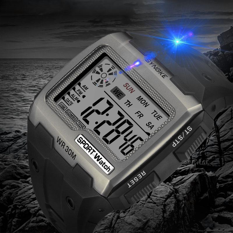 Armbanduhren Ankunft Uhren Herren Große Zahlen Männer Sportuhr digitale Multifunktionsalarm Chrono 5atm wasserdichtes Rücklicht Square