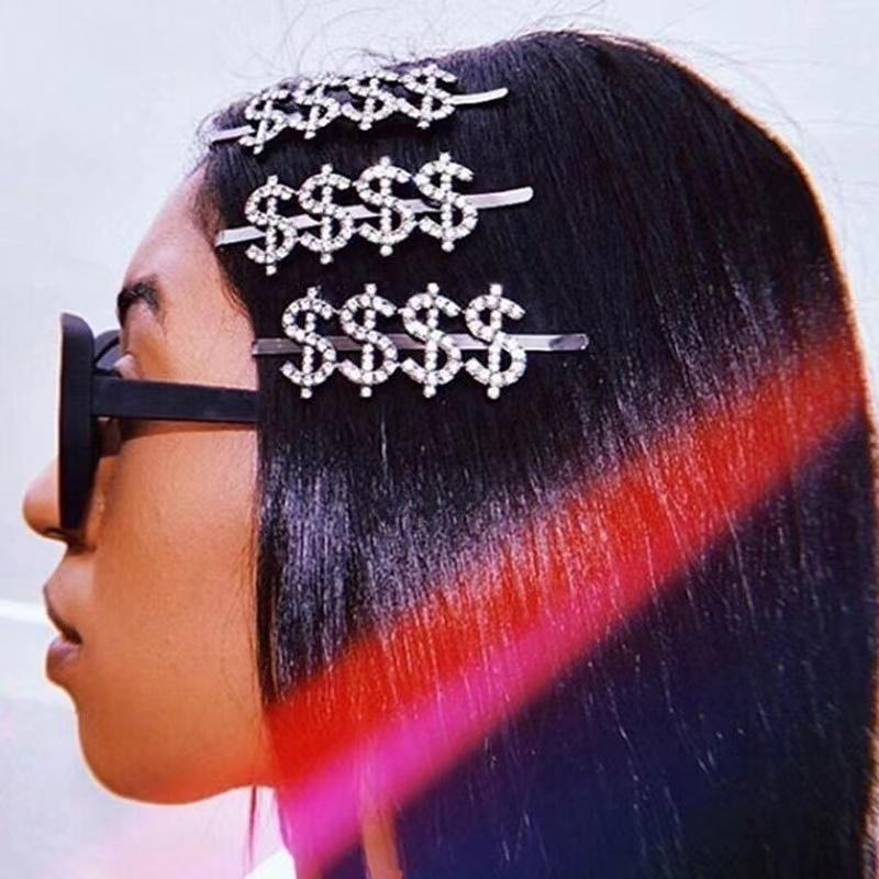 Saç Klips Barrettes Ins Firkete Şapkalar Rhinestone Dolar Işareti Tipi Metal Altın Hairgrips Düğün Aksesuarları için Kristal Pin