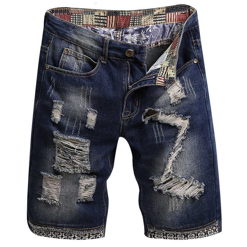 Do old fashion brand hole Men's Jeans denim shorts men half length pant beggars loose straight pants