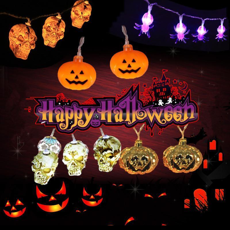 Strings 1.5m 10Led Halloween Pumpkin Ghost Skeletons Bat Spider Led Light String Lamp Hanging Horror Decoration Party Supplies