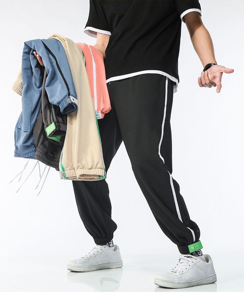 Erkek Pantolon Kalem Pantolon Spor Ayak Bileği Tulum Joggers 6 Renkler Moda Sweatpants Çizgili Panalled Jogger Asya Boyutu M-4XL İş Elastiklik CR