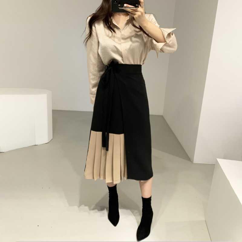 Kadın Eşofman JSXDHK Kore Bahar 2 Parça Set Kadın Moda Puf Kol Gevşek Gömlek + Renk Kontrast Patchwork Dantel Yukarı Pileli Etekler Takım Elbise