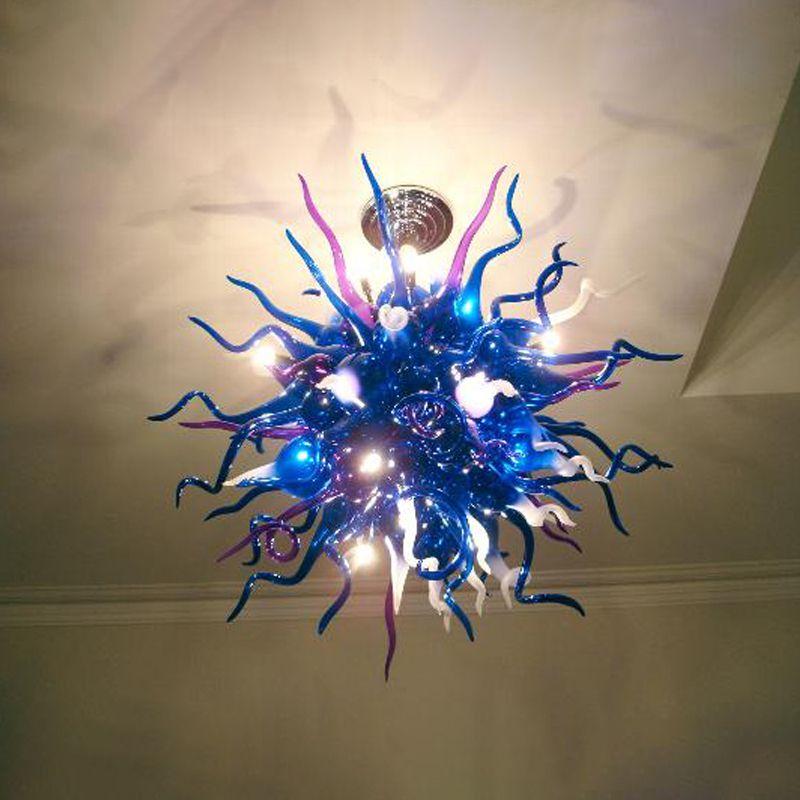 Lâmpada de cristal lâmpada feita mão soprada candelabro luz led lâmpadas azul pedant luzes 32 polegadas