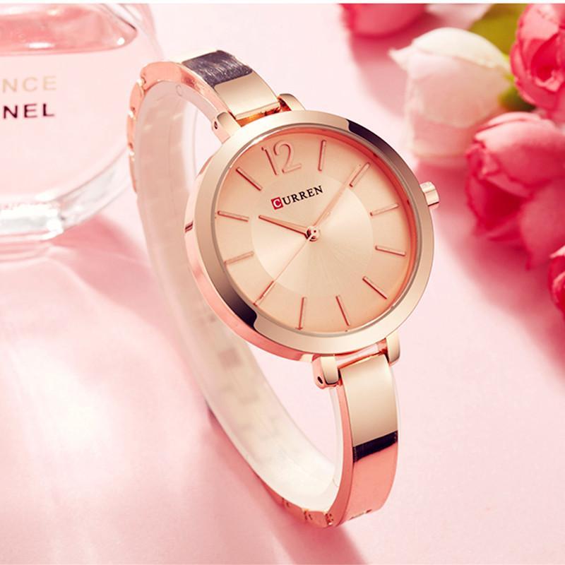 Curren Moda Altın Kadın Saatler Paslanmaz Çelik Ultra Ince Kuvars İzle Kadın Romantik Saat Montre Femme