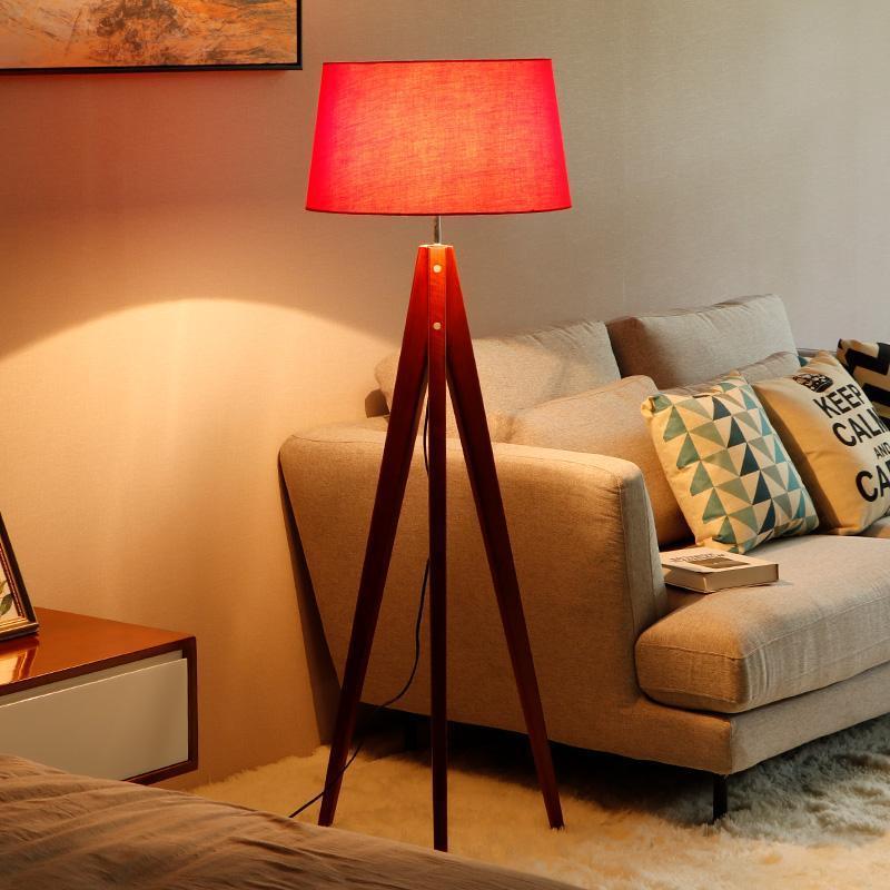 3 개의 플로어 램프 나무 삼각대 갓 (패브릭 컬러 화이트) (발 호두) 룸 조명, 사무실 LED 전구 선물 램프