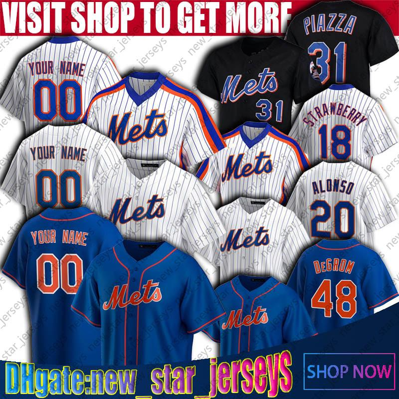 Mets 12 Francisco Lindor Jersey New Pete Alonso York Jacob Degrom Jerseys Mike Piazza Michael Conforto Jersey Strawberry Trevor May Stroman
