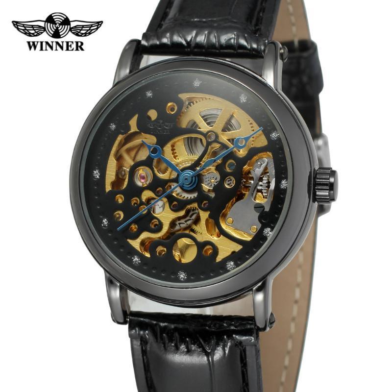 Erkekler için T-Kazanan Bilek Saatler Otomatik Movt İskelet Deri Kayış Marka İzle Renk Siyah Lüks WRG8110M3 Saatı