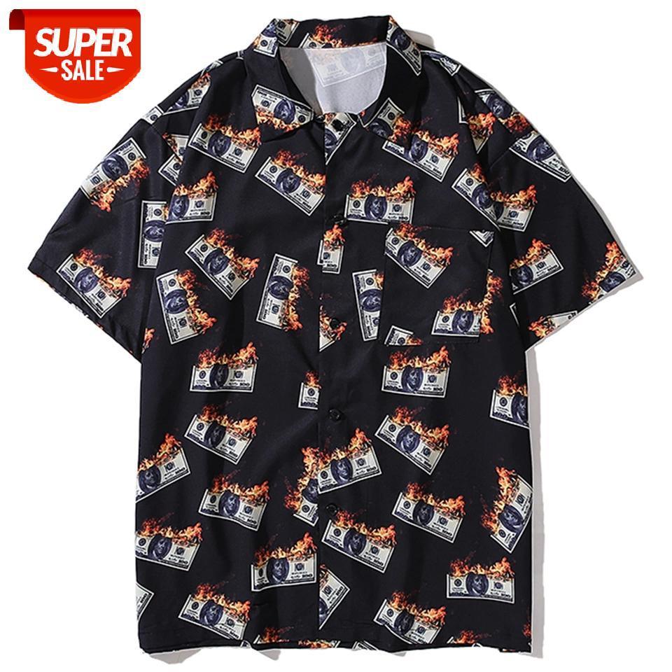 Hawaii Plaj Gömlek Erkekler Büyük Boy Yangın Para Baskılı Yarım Kollu Moda Streetwear Gömlek Gevşek Hip Hop Tops Tees # An2t