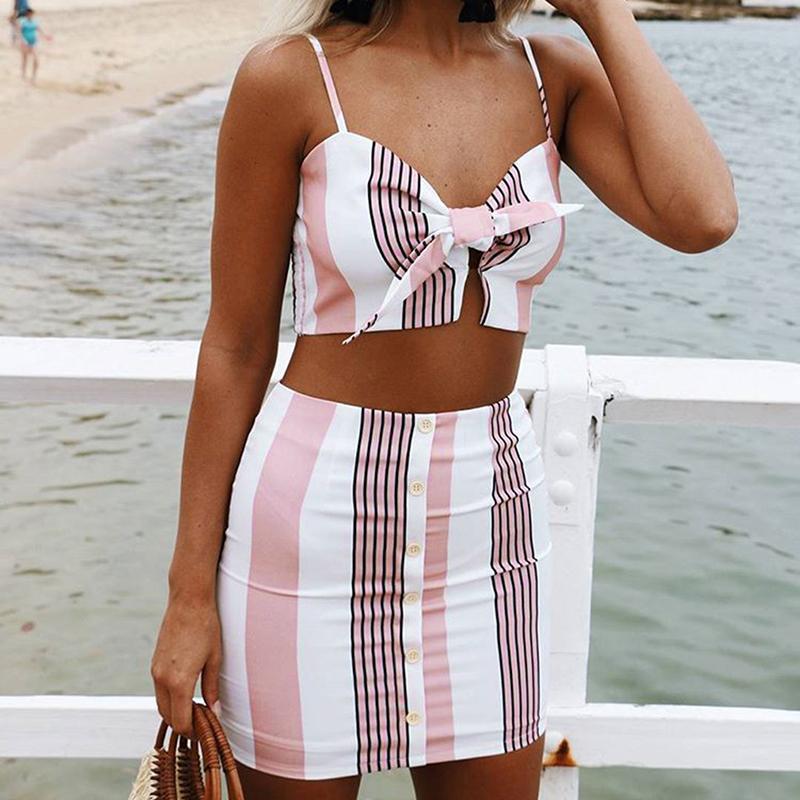 Vest Work Dresses Skirts Suit Sexy 2 Pcs Women Summer Sleeveless Spaghetti Strap Buttons Stripes Bodycon