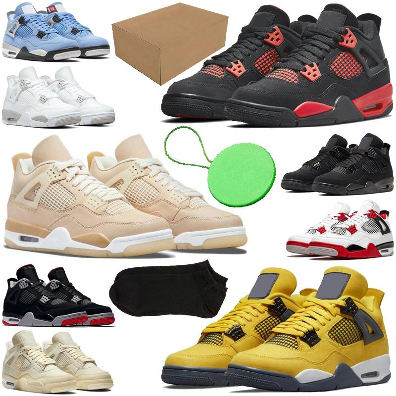 With Box&Sock&Tag 4 4s mens basketball shoes Shimmer Lightning Cactus Jack Red Thunder Sail University Blue Black Cat men trainers sports sneakers