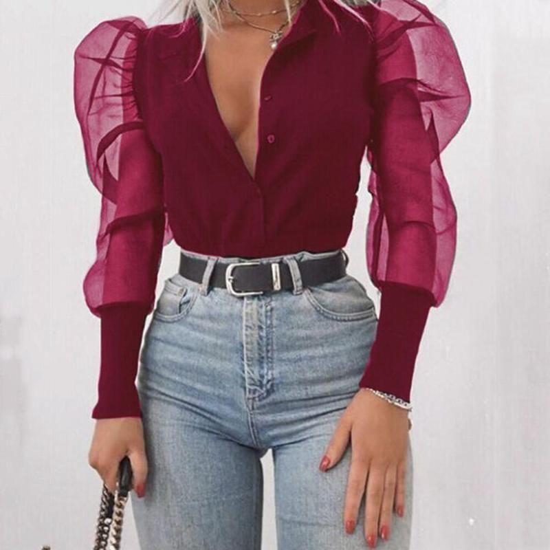 Women's Blouses & Shirts Women Summer Cotton Bandage Blouse Big Long Slush Lantern Sleeve Adjustable Lace Up Strap Crop Top