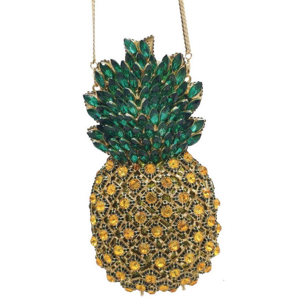 Woman New Com Dign Good Metal Quality Evening Clutch Handbag Rhintone Purse Pineappl Diamond Coupling Cups