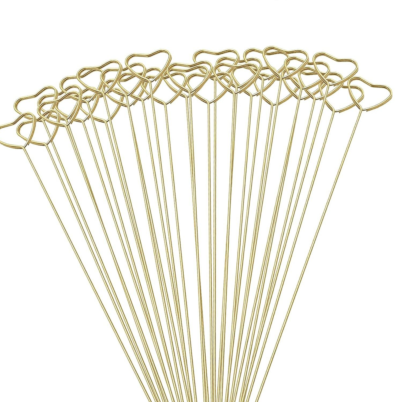 Geschenke Wrap Verpackung Florist Blumenstrauß Geschenk Kartenhalter Goldener runder Herz Stern Metall Lange Stick Blume Clip GWD10134