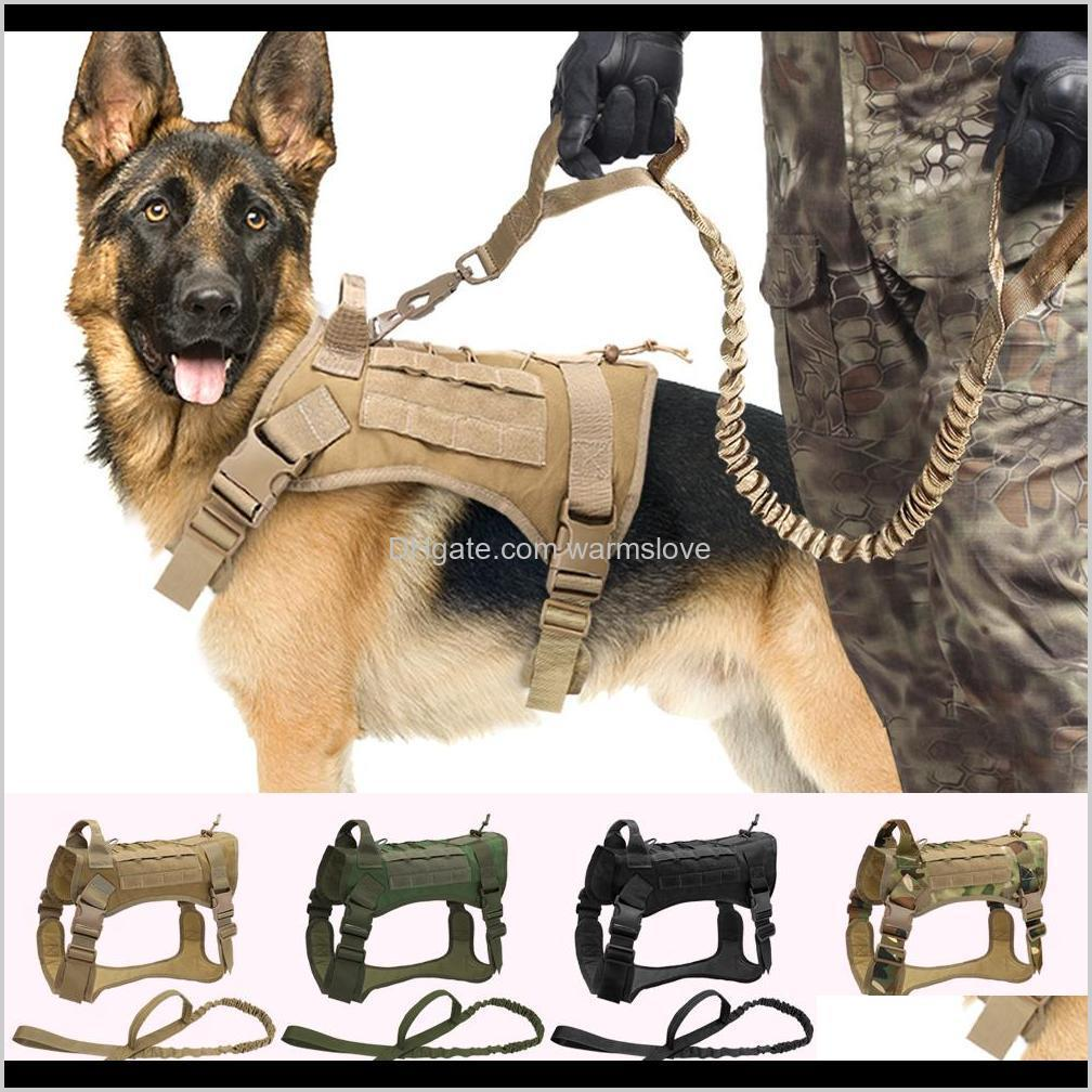 Collars Leashes Pet Supplies Home & Garden Drop Delivery 2021 Tactical Military K9 Working Clothes Harness Leash Set Molle Dog Vest For Mediu