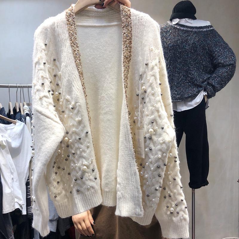 고품질 빈티지 구슬 니트 카디건 여성 2021 가을 스웨터 코트 캐주얼 긴 소매 여성의 니트 티셔츠