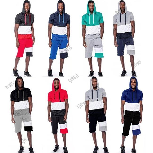 Two Summer Men Tracksuits Fashion Sportswear Men's Outdoor Short Sleeve Trousers slim casual suit Large Size M-4XL
