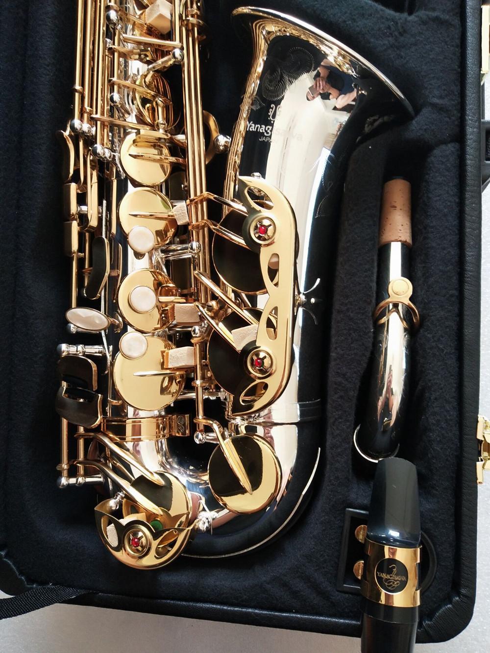Yanagisawa A-W037 ألتو ساكسفون EB TNE BRASS الموسيقية النيكل الفضة مطلي الجسم الذهب ورنيش مفتاح ساكس مع حالة لسان حال