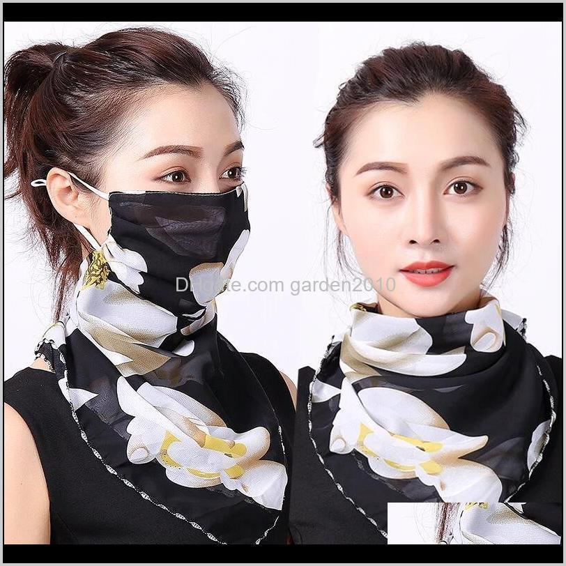 Designer Masks Outdoor Cycling Windproof Women Multifunction Silk Scarves Face Mask Dust-Proof Breathable Sunshade Neck Protector Scar Jqm9V