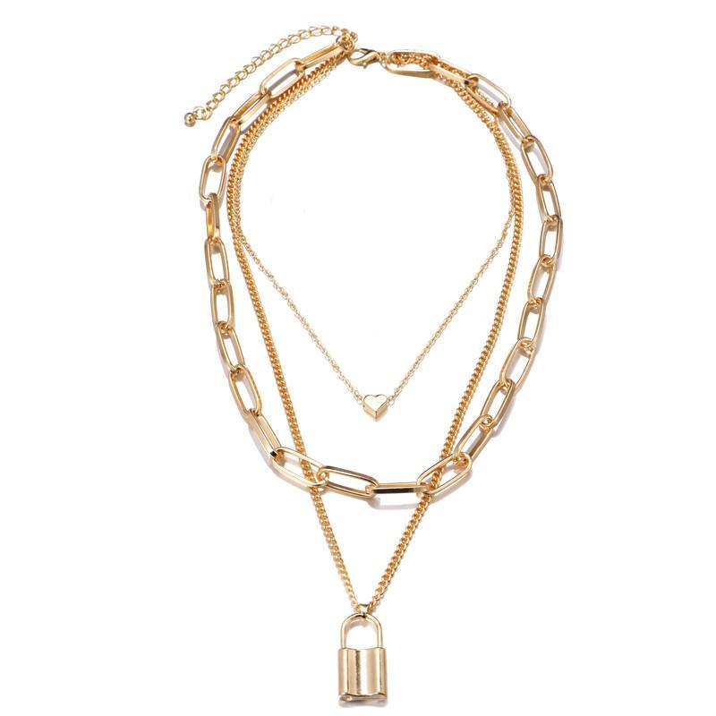 간단하고 과장된 두꺼운 체인 목걸이 레트로 다층 기하학적 잠금 모양의 사랑 펜던트 쥬얼리