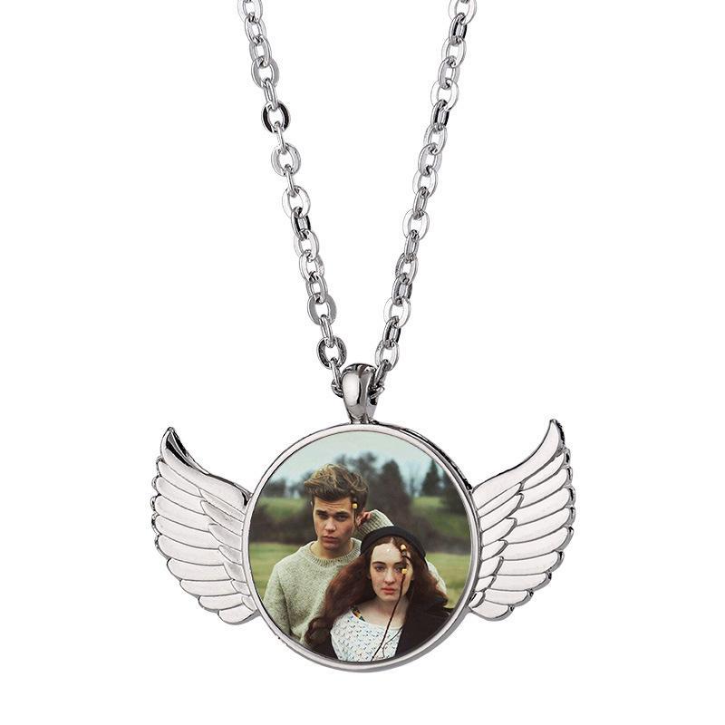 Sublimation leer Anhänger Halskette Mode Paar Flügel Wärmeübertragung Halsketten DIY Kreative Valentinstag Geschenk Dekorative Anhänger
