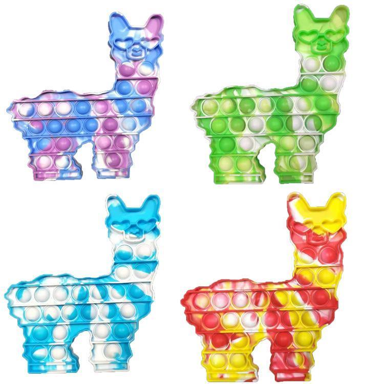 Lama Alpaca Push Bubble Zappeln Spielzeug Krawatte Dye Fidget Finger Puzzle Silikon Squeeze Cartoon Tier Spielzeug Stress Relief Party Spiel Kinder Dekompression Geschenk 2021 DHL