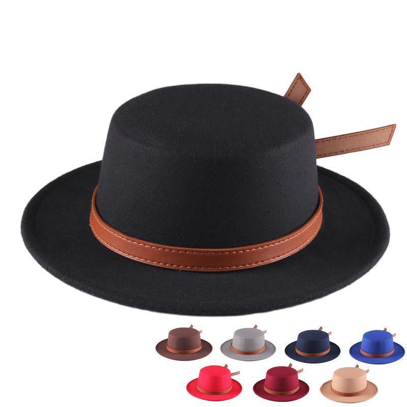 Geniş Ağız Şapkalar Sonbahar Monnet Şapka Kadın Kap Kış Moda Keçe Siyah Yuvarlak Bahar Erkekler için Fedoras Caz Avrupa Amerikan 2021