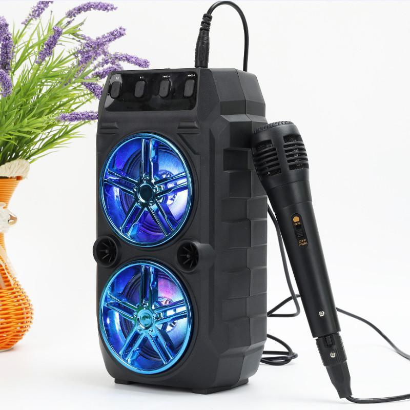 Colore LED luce all'aperto portatile portatile altoparlante Bluetooth casa campeggio party stereo suono impermeabile wireless con radio microfono