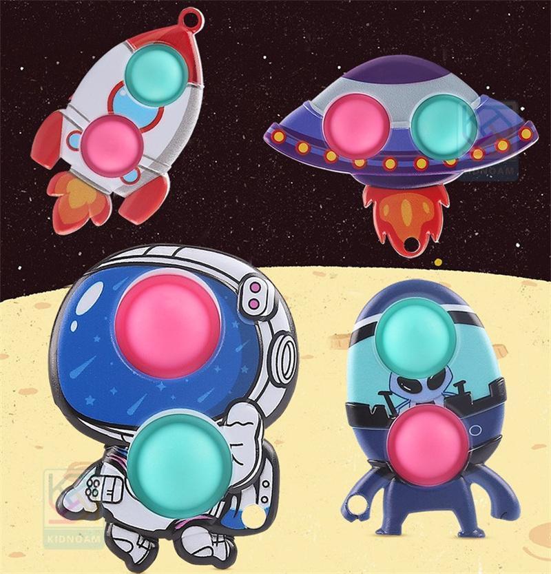 압축 해제 fidget 장난감 손가락 거품 음악 펜던트 spaceman 실리콘 장난감 설치류 개척자 키 체인 스퀴즈 무료 DHL