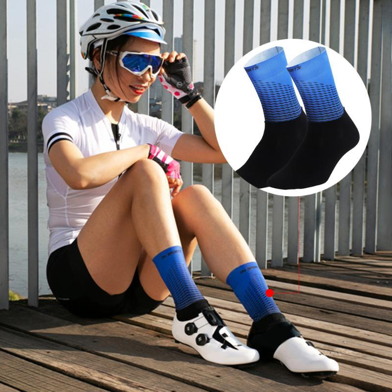 Sports Socks Men Women Cycling Anti-Slip Wearproof Breathable Running Hiking Outdoors Athletic Compression S / L Size