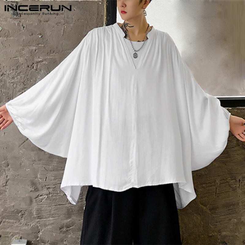 느슨한 부드러운 카메인 hombre 셔츠 개발 남성 패션 플레어 슬리브 V 목 화학 남자 한국식 솔리드 컬러 Blusas S-5XL 남자 캐주얼