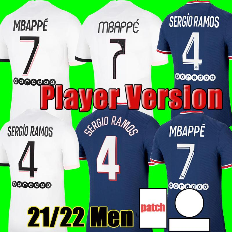 Spieler-Version 2021 2022 Fußball-Jersey # 4 Srergio Ramos Mbappe Neymar JR Soccer-Hemd Home Blue icardi Verratti Männer Fußballuniformen anpassen