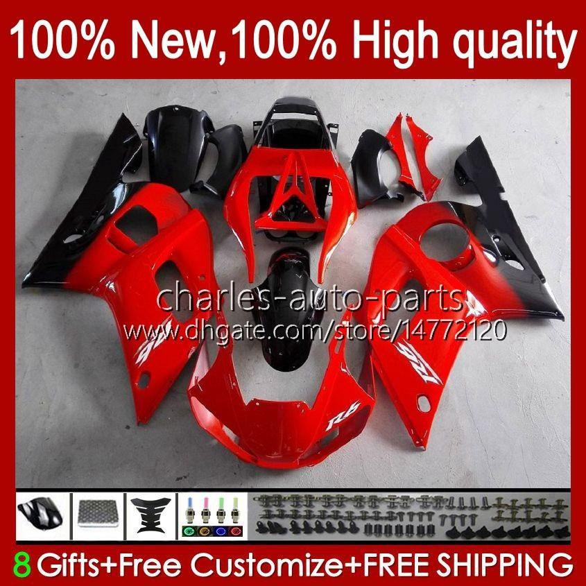 Bodys pour Yamaha YZF-600 YZF R6 R 6 600CC YZFR6 1999 1999 00 01 02 Bodywork 1NO.18 YZF 600 CC COWLLING YZF-R6 98-02 YZF600 98 99 2000 2001 Kit de carénage ABS Rouge Black