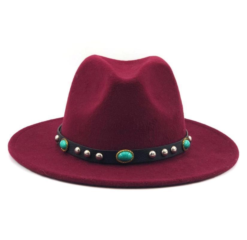럭셔리 양모 여성 남성 Fedora 모자 보헤미아 리본 우아한 레이디 겨울 가을 재즈 대부 Sombrero 모자 와이드 브림 모자