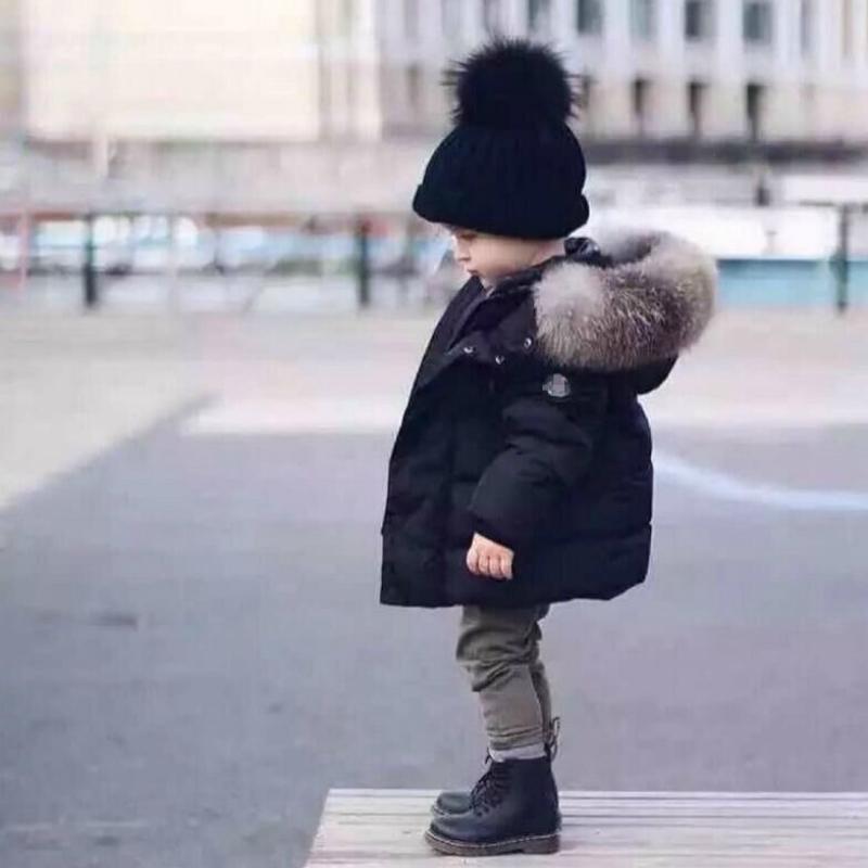 Fashion Niños Simple Down Pure Color Pure Grueso Cuello de Piel Abrigo de Algodón Y Niñas Ropa de Chaqueta