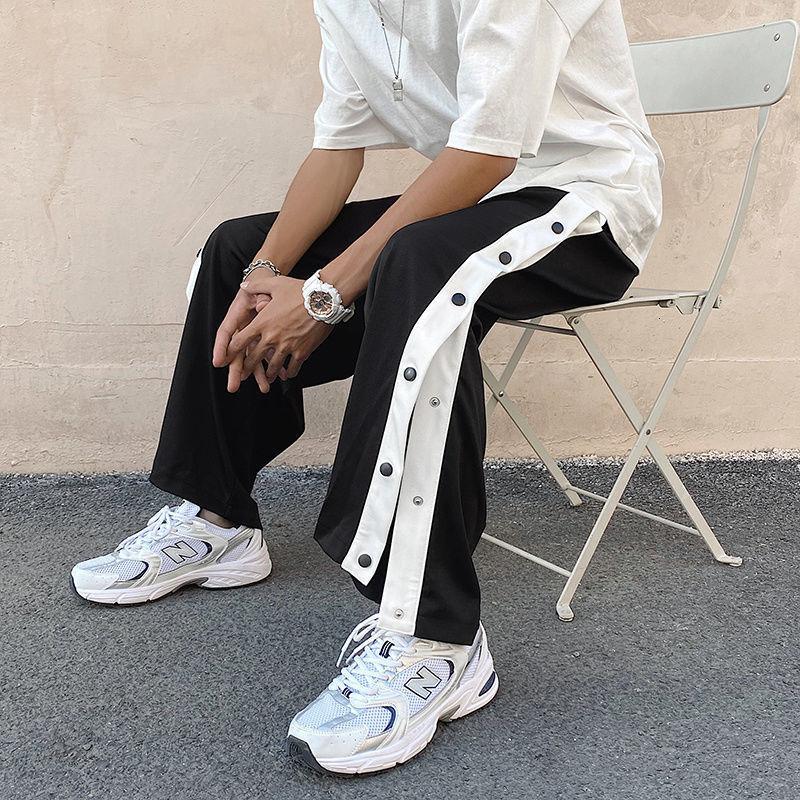 PANTALON DROIT EN COTON HOMME, Streetwear, Geniş, Hip-Hop, Bouton, Hayatta