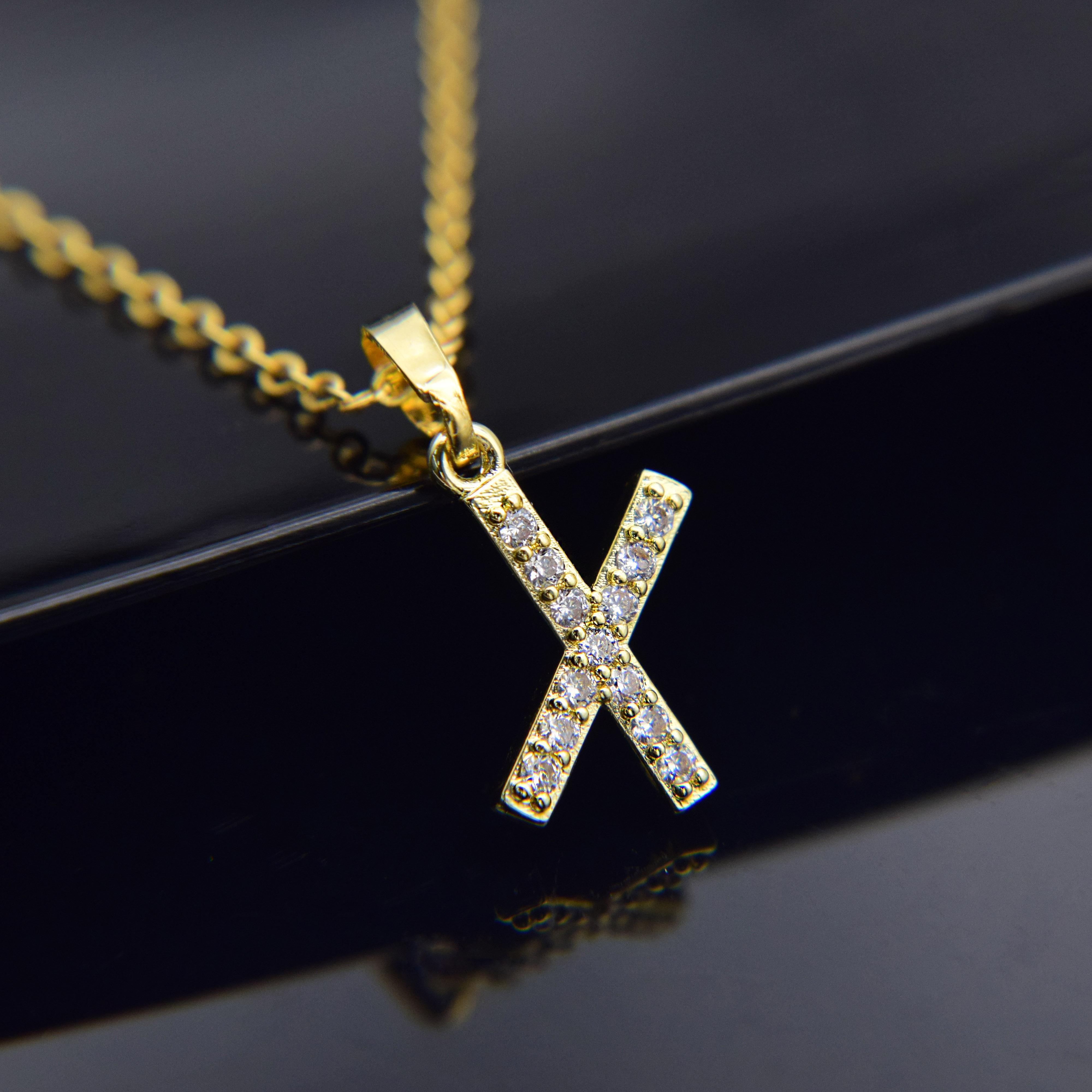 4 pçs / jóias cúbico zircão alfabeto pingentes de ouro cor de prata de cobre mini a-z letra colar de pingente shinning 26 primas collares