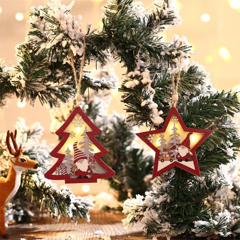 لوازم الحزب عيد الميلاد غابة حمراء كبار السن خشبية قلادة مضيئة Xmax شجرة الحلي جولة خمس نجوم المعلقات