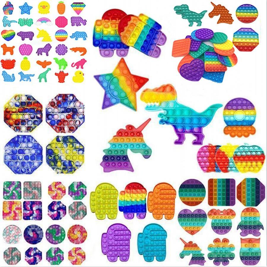 DHL Tiktok Party Geschenk Rainbow Pop IT Zappeln Spielzeug Sensorie Push Bubble Autismus Sonderbedürfnisse Büroangestellte Die Angst der Arbeiter reduziert Stress