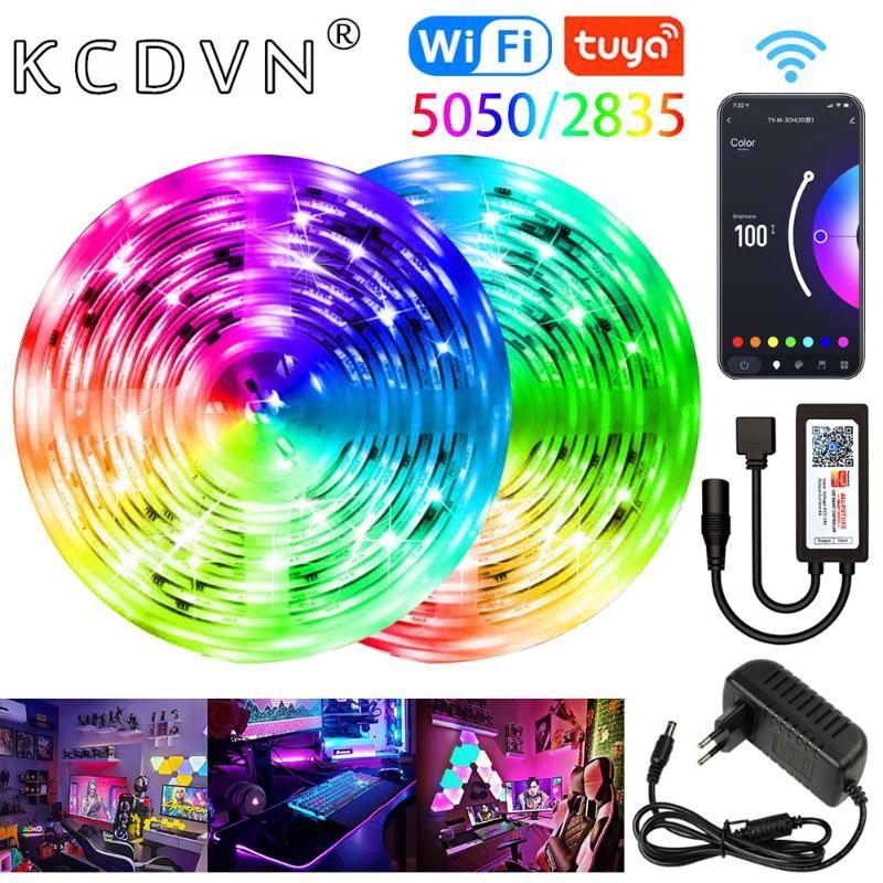 스트립 조명 RGB 와이파이 5-20M SMD 방수 DC 12V 유연한 리본 룸 장식 TV 컴퓨터 발광 문자열 침실 LED