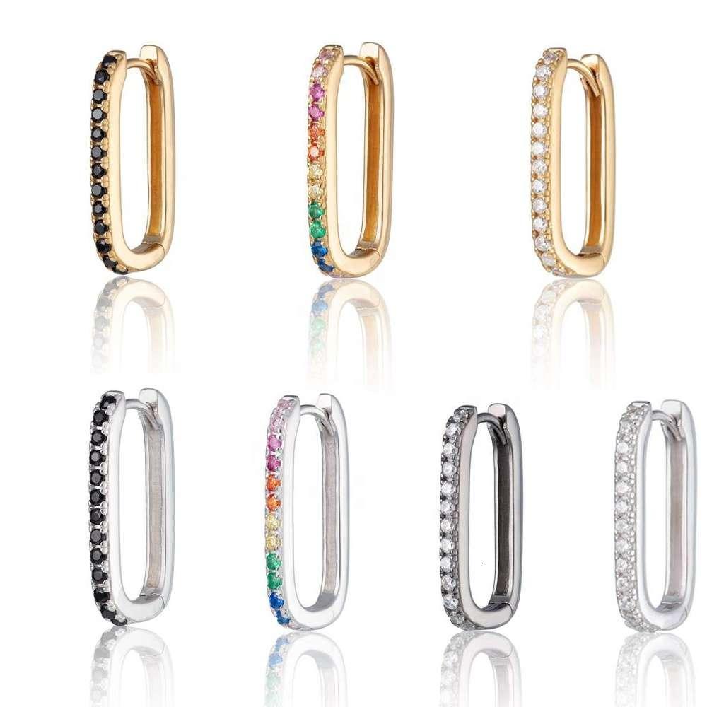 925 SIER Hugie Hoop Ohrringe mit Regenbogen Ston Safety Pins Ohrring