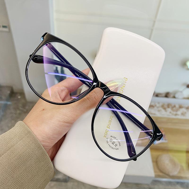 Gafas de luz anti azules Bloqueo Filtro Redondo Computadora Gafas Hombres Mujeres Super Luz Marco Lentes Rosa Claro Gamiles
