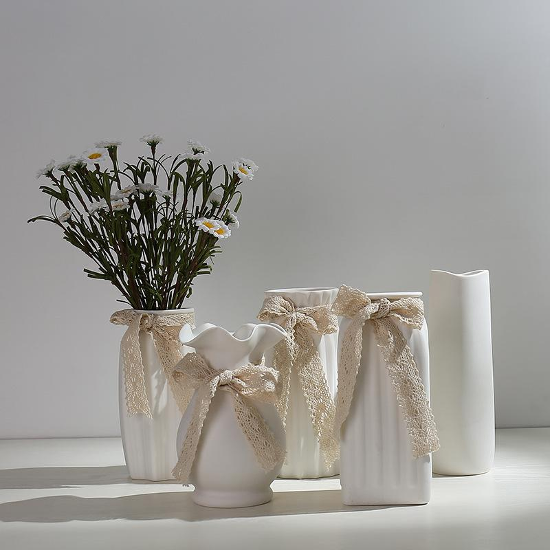Literary White Small Fresh Dried Flower Vase Ceramic Hydroponic-Flower Arrangement Living Room Modern Decoration