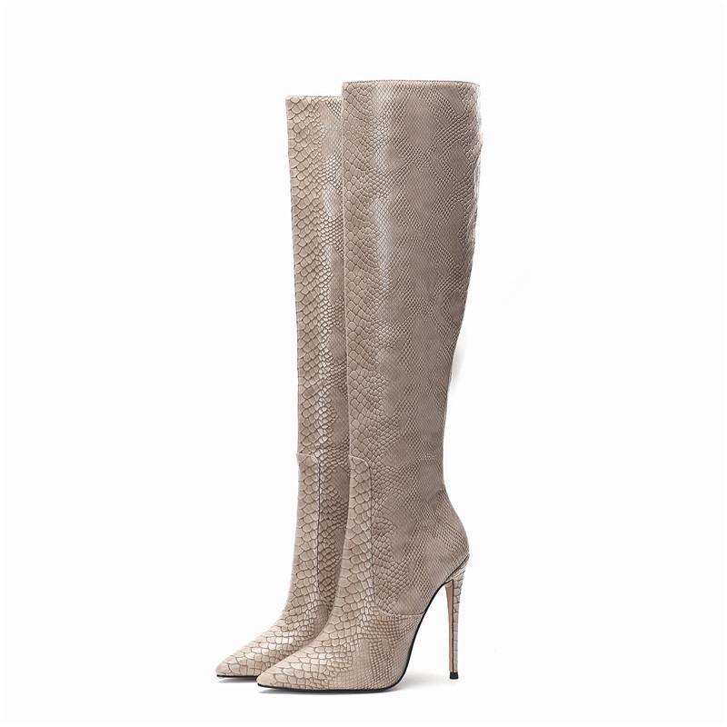Stiefel Schlangenhaut Knie Hohe Frauen Prägen dünne Ferse Winterschuhe für Pelz Große Größe 45 Sexy Frühling Herbstreiten