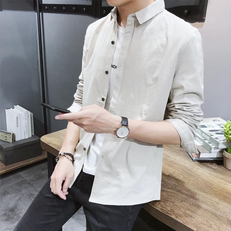 봄과 가을 남성의 긴팔 셔츠 슬림 솔리드 컬러 내부 기지 셔츠 조수의 한국어 버전 브랜드 그물 붉은 작은 col 캐주얼