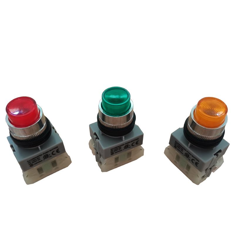 Switches NLPB-22/1A1B Taiwan Auspicious Han tripod belt lamp button switch with the reset buttons red