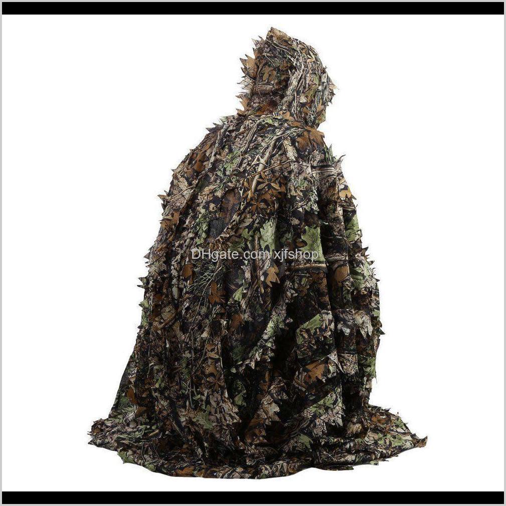 Jaqueta tática Conjuntos Outdoor 3D Folhas Camuflagem Camo Cape Stealth Ghillie Terno CS Woodland Caça Poncho Cloak PCOC9 3LZQ4