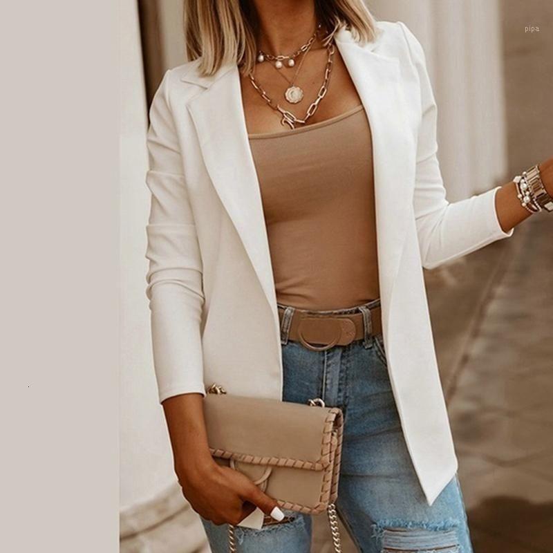 Giacca da donna a colori solidi Autunno 2021 Office Ladies Blazer Casual Maniche lunghe Vestite formali eleganti Slim Blazer1